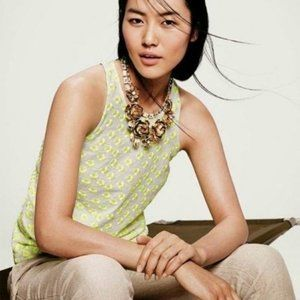 J Crew Embroidered Floral Racer Tank Top in Neon